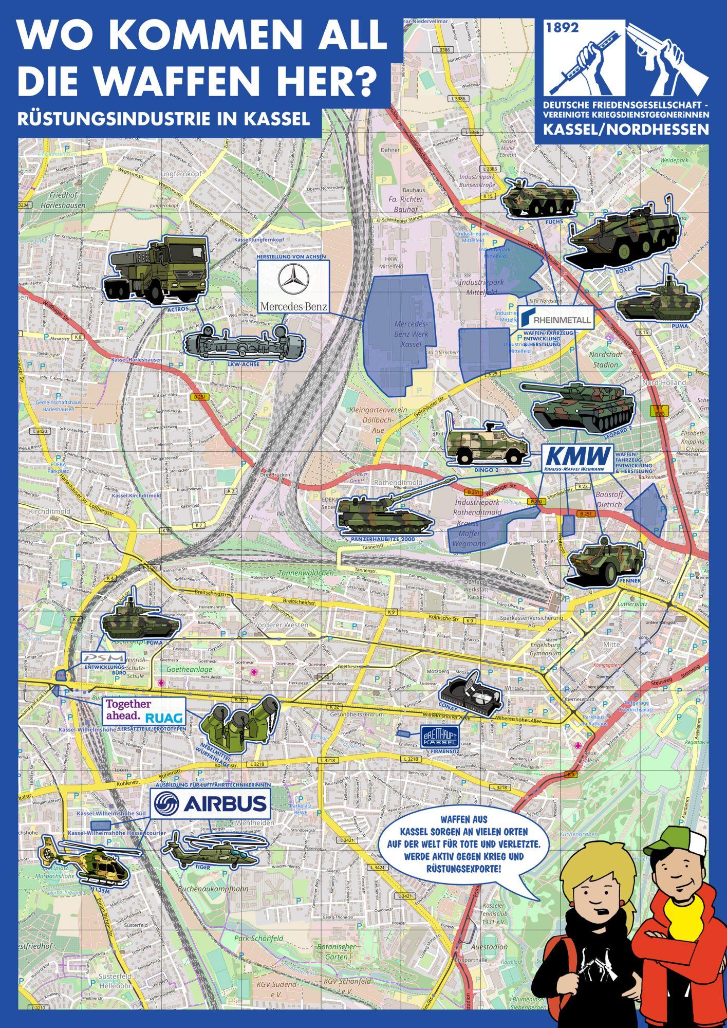 Stadtplan Kassel mit Standorten der Rüstungsindustrie