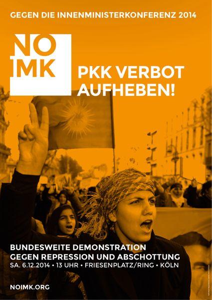 Plakat zur Demo in Köln am 6.12.2014 - PKK-Verbot aufheben