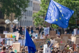 EU-Fahnen auf einer Fridays For Future-Demo in Köln