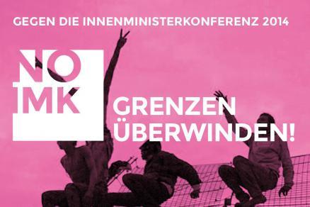 Plakat zur Demo in Köln am 6.12.2014- Grenzen überwinden