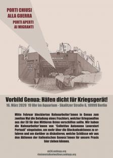 Plakat Genua Hafenarbeiter*innen Bahri-Frachter